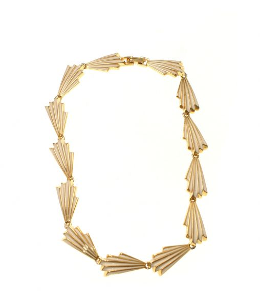 Vintage Enamelled Cream and Gold Fan Necklace