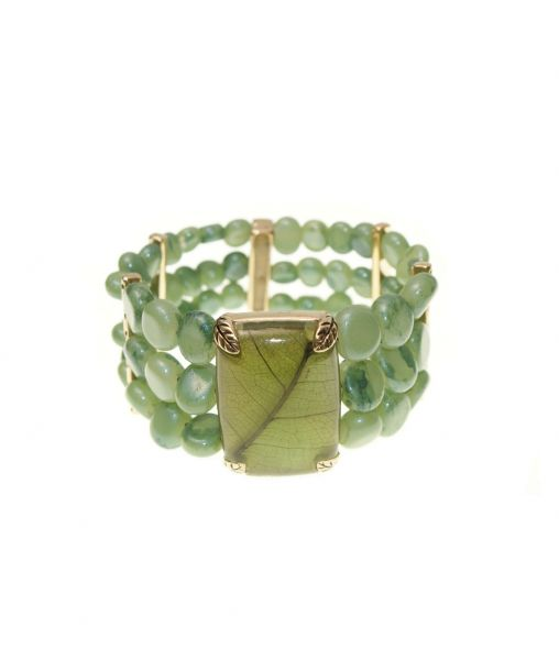 Monet Green Beaded Cuff Bracelet