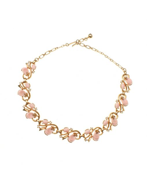 Trifari Pink Pebble Beach Necklace