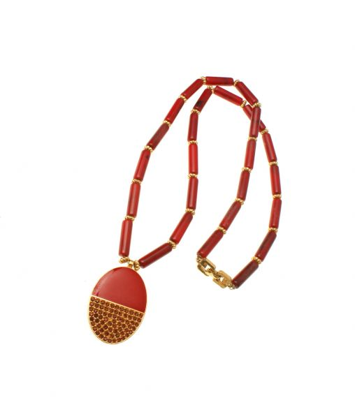 Givenchy 1970s Red Necklace
