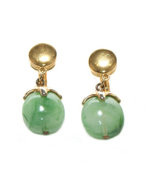 Trifari Crown Green Lucite Earrings