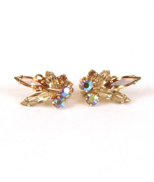 Sherman crystal clip-on earrings