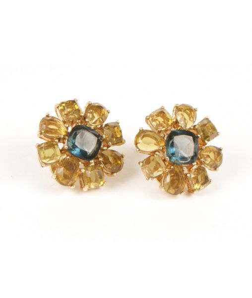 Vintage 1980s Monet Yellow and Blue Flower Earrings