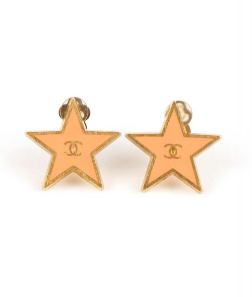 2001 Chanel Star Earrings in Coral