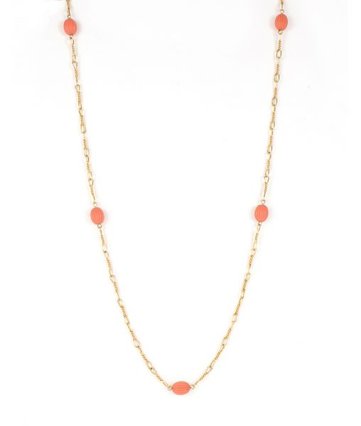 Dior Beaded Chain Necklace Faux Coral