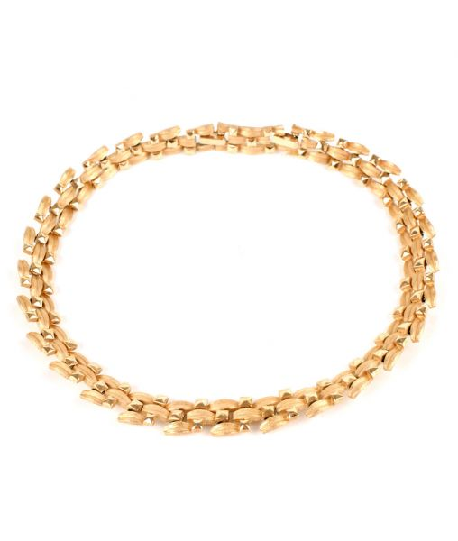 Crown Trifari Modernist Golden Necklace
