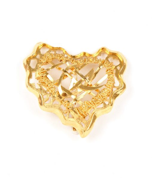 Christian Lacroix Golden Openwork Heart Brooch
