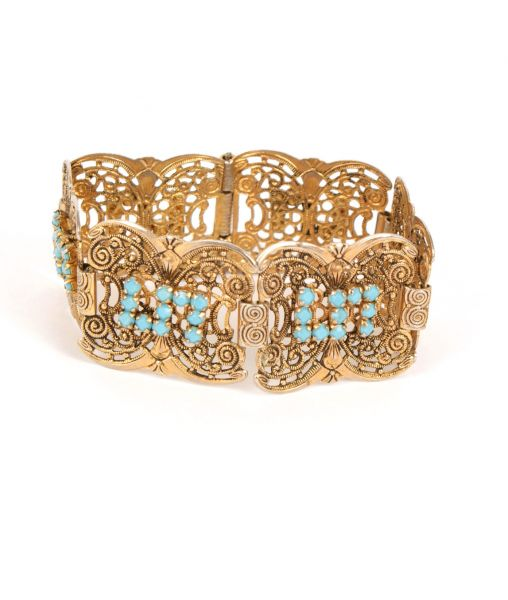 Art Deco Czech Filigree and Blue Glass Panel Bracelet