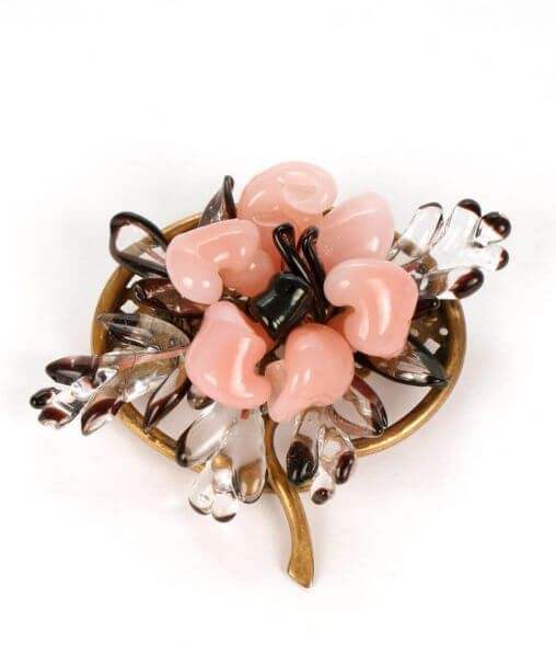 Vintage Rousselet Pink Poured Glass Brooch