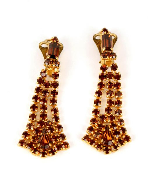 Vintage 1950s Topaz Crystal Dangle Earrings