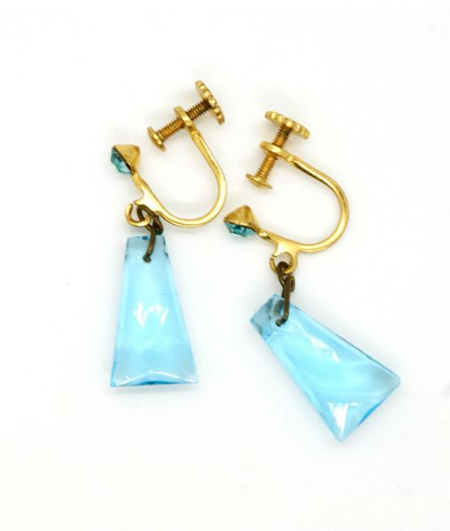 Vintage 1950s Blue Glass Screw Back Earrings